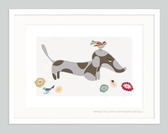Sausage Dog Art | Dachshund | Wiener Puppy | Whimsical Joyful