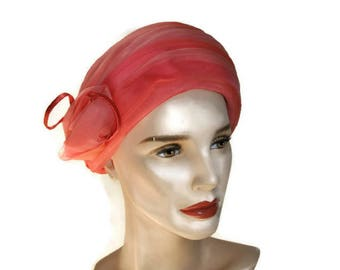 1960's Pink Hat // Vintage Turban Hat with Flowers // Chiffon Hat // Mother if the bride