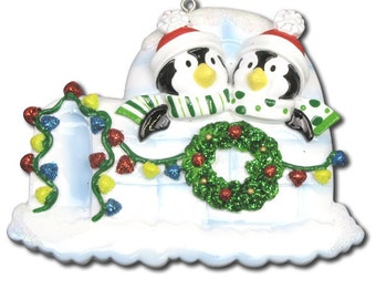 Personalized Twins Christmas Family  Ornaments Penguins- Family of two people,couple, grandkids,friends co-workers