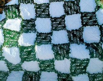 New York Jets NFL Football Ragged Blanket/Quilt/Throw/Handmade Gift.Ragged quilt