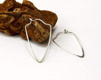 Triangle Hoop Earrings, Gold Hoop Earrings, Silver Hoops, Hammered hoop earrings, 14k Yellow or Rose Gold Filled, Argentium, Sterling Silver