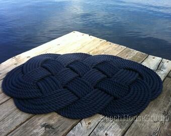 Nautical Bathmat, Handmade Rug, Navy Blue Rug, Woven Rope Rug,Nautical Gift,Cream Bathmat, Sailors Rope Rug, Nautical Bathroom, Sailors Gift