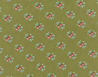 Sale! - Moda Fabrics - Little Miss Sunshine Strawberry Patch / Leaf Green, Olive Green, Pink, Coral **1 Yard Pieces**