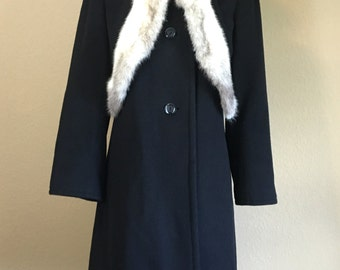 Vintage 1960's 70's YOUTHCRAFT black cashmere coat with mink fur trim S
