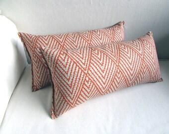 Ikat PAIR  TANGERINE lumbar, throw, toss pillows 10x20