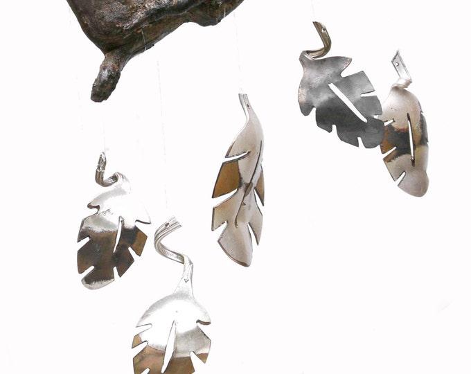 Handmade Silverware Wind Chime, Leaf Wall Art, Gold Metal Wall Art, Gold Decor, Leaf Home Decor, Colorful Leaf Art, Metal Leaf Wall Decor