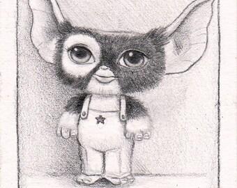GIZMO . Original Artwork ACEO ft Gremlins. Popsurrealism illustration Raul Guerra