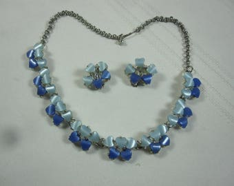 Dark and Light Blue Thermoset Necklace and Clip Earrings