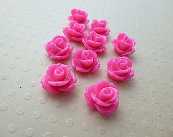 Set of 10 resin flowers pink 10mm - en-0623