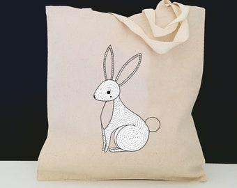 Personalized Bunny Tote Bag (FREE SHIPPING), 100% Cotton Canvas Bunny Tote Bag, Bunny Tote Bag, Bunny Gift, Bunny Tote, Rabbit Tote Bag