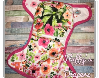 Ready To Ship One Size OS Spring Floral Easter PUL Cloth Diaper Cover With Snapsz