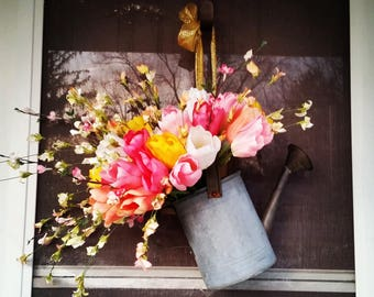 Antique Watering Can with Tulips