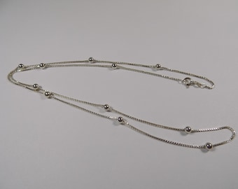Beautiful sterling silver bead necklace 24 inches long