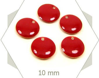 6 sequins dark red 10 mm SEC13 charms