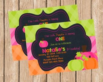 Girl Pumpkin Patch Invitation