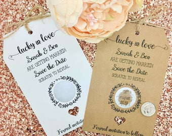 Lucky in Love-  Save The Date / Evening Card Wedding Invitation with Envelope / Scratch Off / Lottery