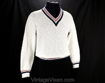 Men's Medium Tennis Sweater - 1960s White Texture Knit Pullover - V Neck Mens Preppy - Red White & Navy Blue - Patriotic - Chest 43 - 50183