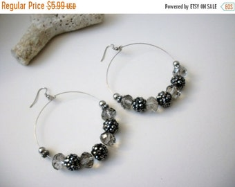 ON SALE Vintage Over Sized Silver Gray Beaded Earrings 12017