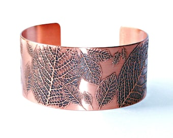 ETCHED LEAVES CUFF - Etched Solid 18 gauge Copper, Floral, Nature, Boho, Handcrafted, Gift for Her