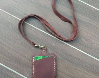 leather lanyard, work card holder, ID holder