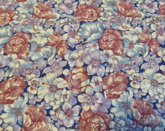 Free Shipping! Blue and Mauve Floral Print. 1/2 Yard. 17125