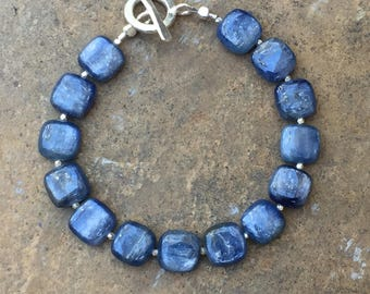Kyanite Bracelet, Kyanite and Sterling Silver Bracelet, Choose your size and clasp.