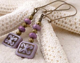 Purple Earrings - Hypoallergenic - Dangle Earrings - Titanium Earrings - Handmade Earrings - Gift for Her - Vintage Bronze Titanium Earrings