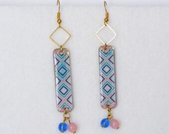Geometric Earrings, Boho Earrings, Turquoise Earrings, Native American, Ethnic Earrings, Bohemian Earrings, Southwestern Jewelry, Teen Girl