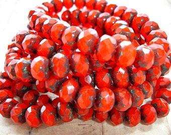10 Orangey Red Rondelle Beads 9 mm x 6 mm
