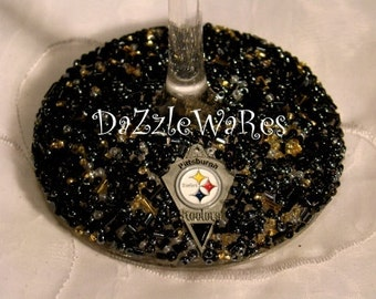 Pittsburgh STEELERS Themed Set of 2 Beaded Wine Glasses- Football -Sports Decor -Custom Gifts -Personalized -Birthday -Dad -Mom -Wedding