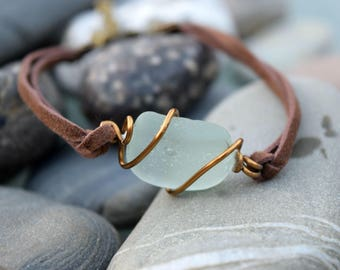 Blue Sea Glass Faux Suede Bracelet