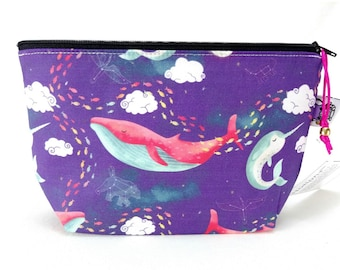 Gusseted Zipper NOTIONS POUCH with zipper pull - Dream Whales