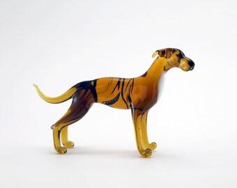 Color Glass Greyhound Figurine.Dog Figurine Glass.Figure miniature.glass lampwork.glass dog sculpture.dog figurine.(x2)