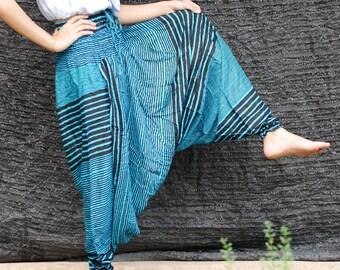 Harem clothes Hippie Clothes Drop Crotch Blue Stripe Bohemian pants Yoga clothes Blue clothes