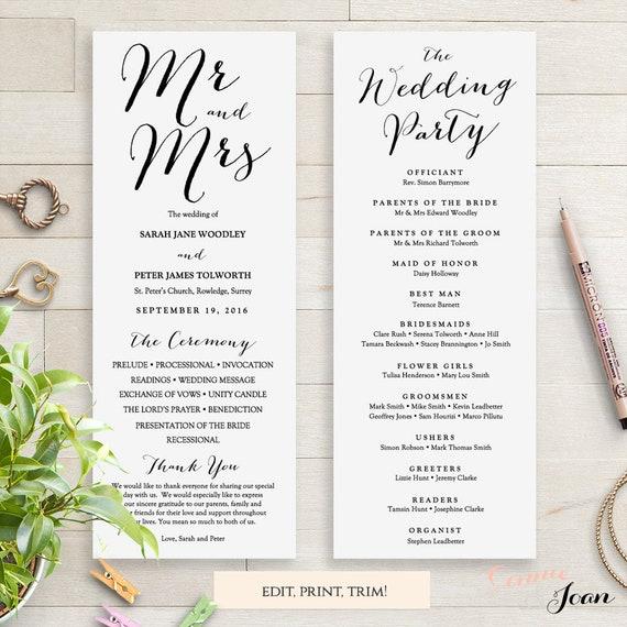 Wedding Programs Instant Download Template. Sweet Bomb. Edit, Print, Trim   DIY Editable Printable Template   Edit in WORD or PAGES