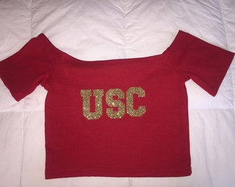 USC Red Off the Shoulder Top