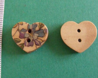 wooden button, set of 12, heart, 15mmx17mm 2holes
