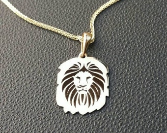 Lion necklace, gold lion, lion charm, gold lion pendant, lion ingraving