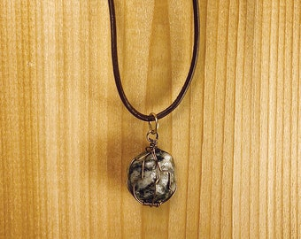 Muskoka, Ontario Granite Stone Pendant Necklace with Copper Wire Wrapping on Genuine Leather Adjustable Rope Chain by Eewneek