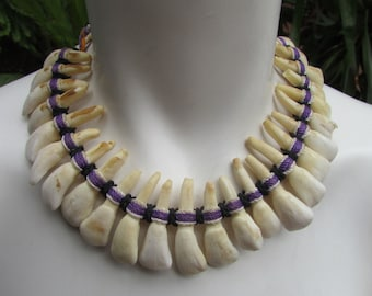 Tribal Tooth Necklace 25 Buffalo Teeth on Woven Cord