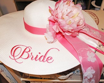 Personalized Bridal Wedding Floppy Hat Bridal Shower Hat Honeymoon Hat Customized Statement Hat Embroidered