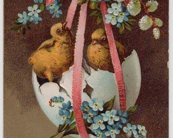 Easter antique postcard Easter Vintage  Postcard, Easter Chicks in egg swing, flowers