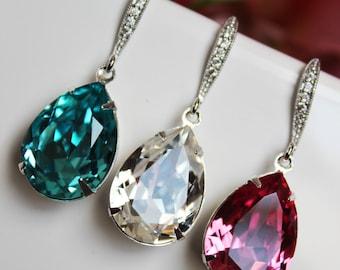 Crystal Clear, Turquoise, Rose Pink Wedding Earrings, Crystal Teardrop Bridal Earrings, Bridesmaid Earrings, Bridal Accessories