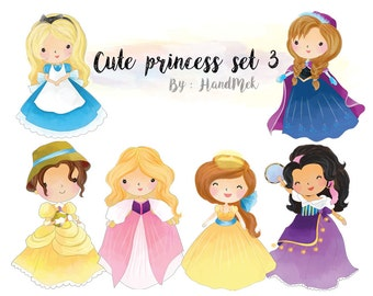 Cute princess clipart set 3 : Instant Download PNG file - 300 dpi