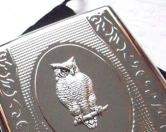Owl Cigarette Case Vintage Inspired Style Silver Plated Metal Victorian Steampunk Large Double Size Holds 18 100's