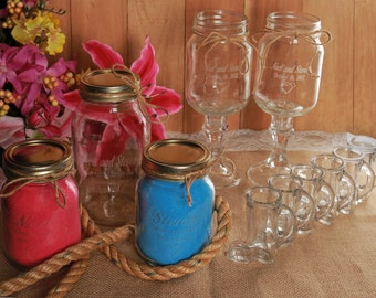 Redneck Wedding Package -  Engraved - Personalized - Wine Glasses, Unity Sand, Wedding Party Shot Glasses