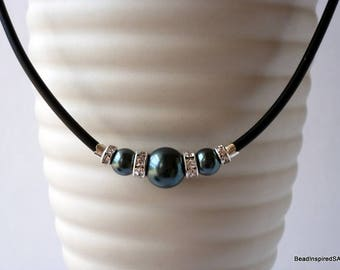 Swarovski Tahitian Green Pearl Necklace, Swarovski Pearl, Bridesmaid Necklace, Bridal necklace, Wedding, Bridesmaid Gift for Her