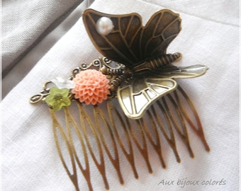 bronze Butterfly hair comb