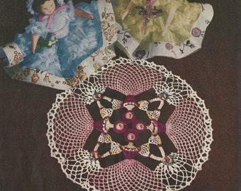 """Cameo Girl Doily Crochet PATTERN # 71 Star Book changed to a PDF instant download 7"""" 9"""" 11"""""""