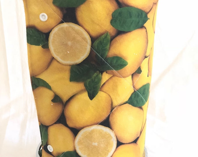 Unpaper towels, Roll of 12 lemon cotton terry cloth kitchen towels, Snap together towels, cotton napkins, Lemons Reusable paper towels